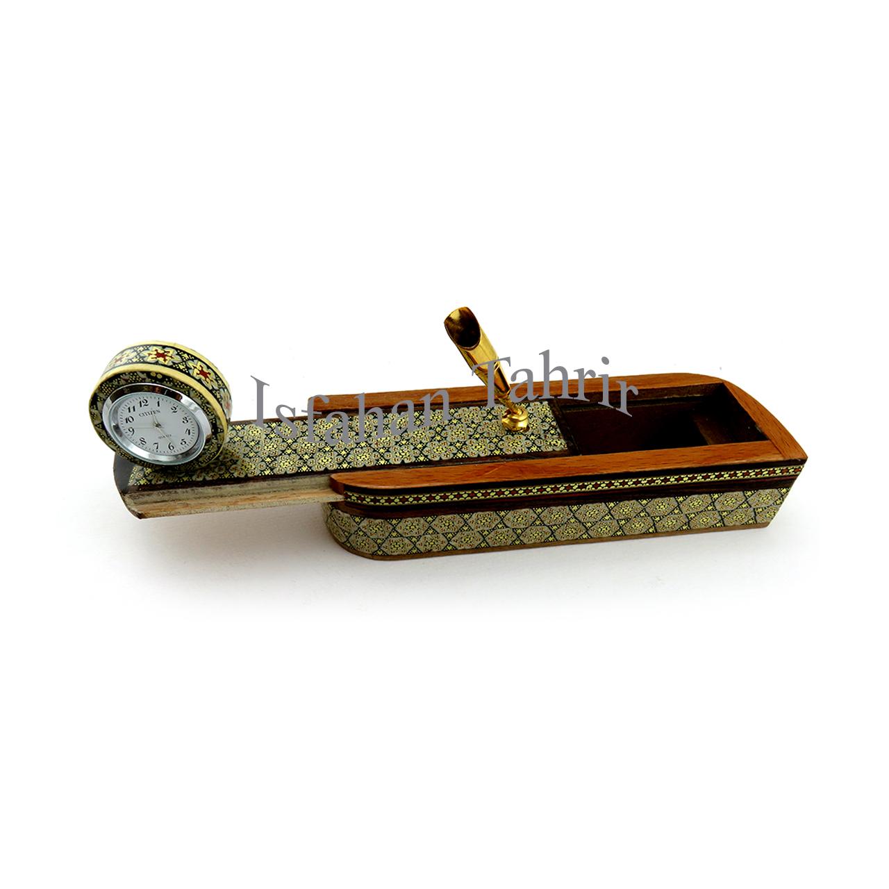 قلمدان و جاقلمی ساعت دار خاتم سازی