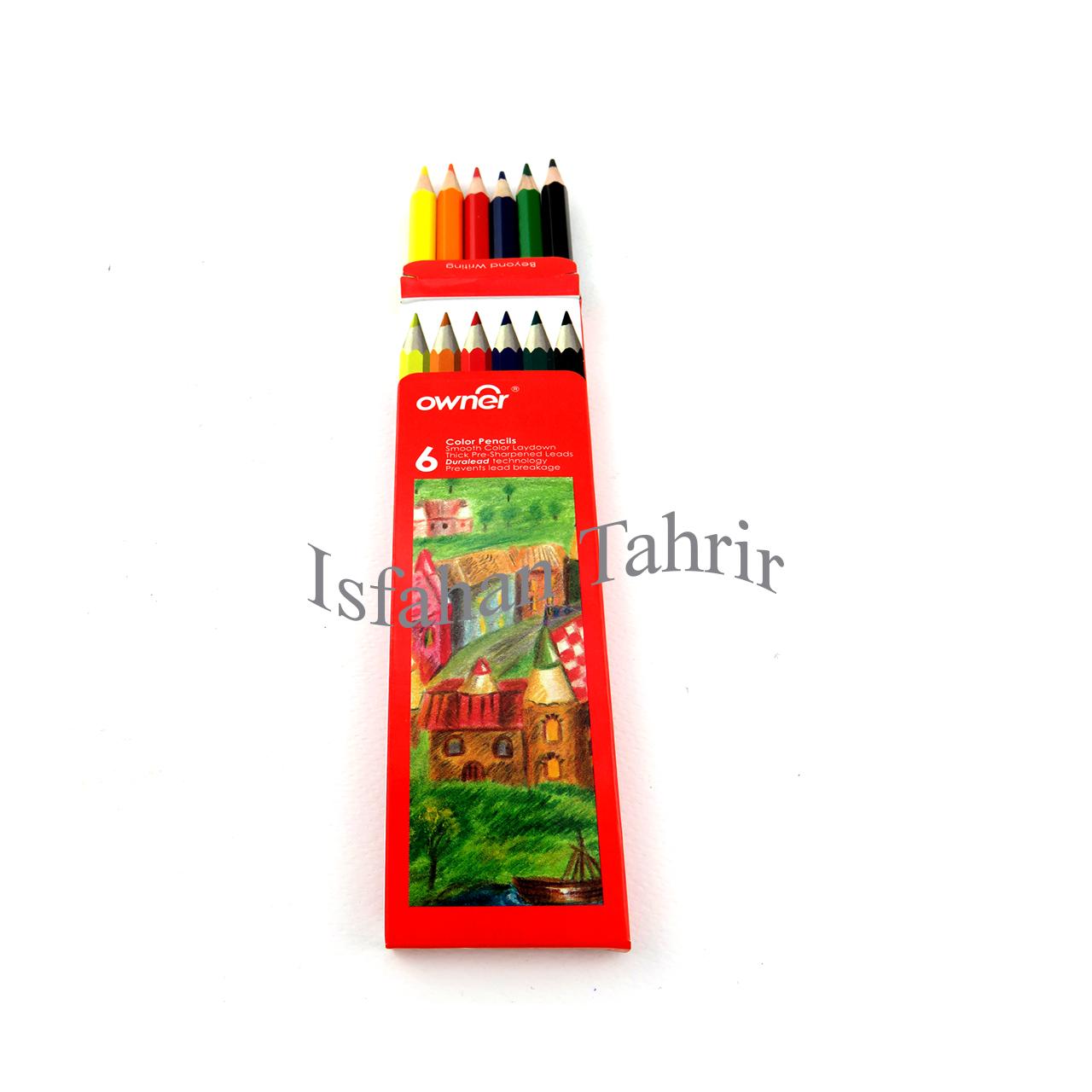 مداد رنگی ۶ رنگ مقوایی اونر Owner