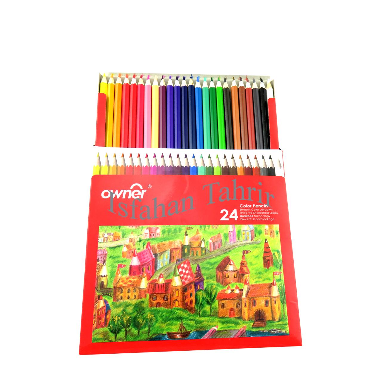 مداد رنگی ۲۴ رنگ مقوایی اونر Owner