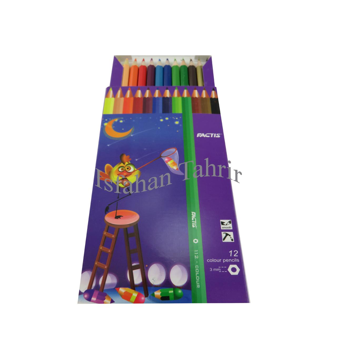 مداد رنگی ۱۲ رنگ مقوایی فکتیس(FACTIS)