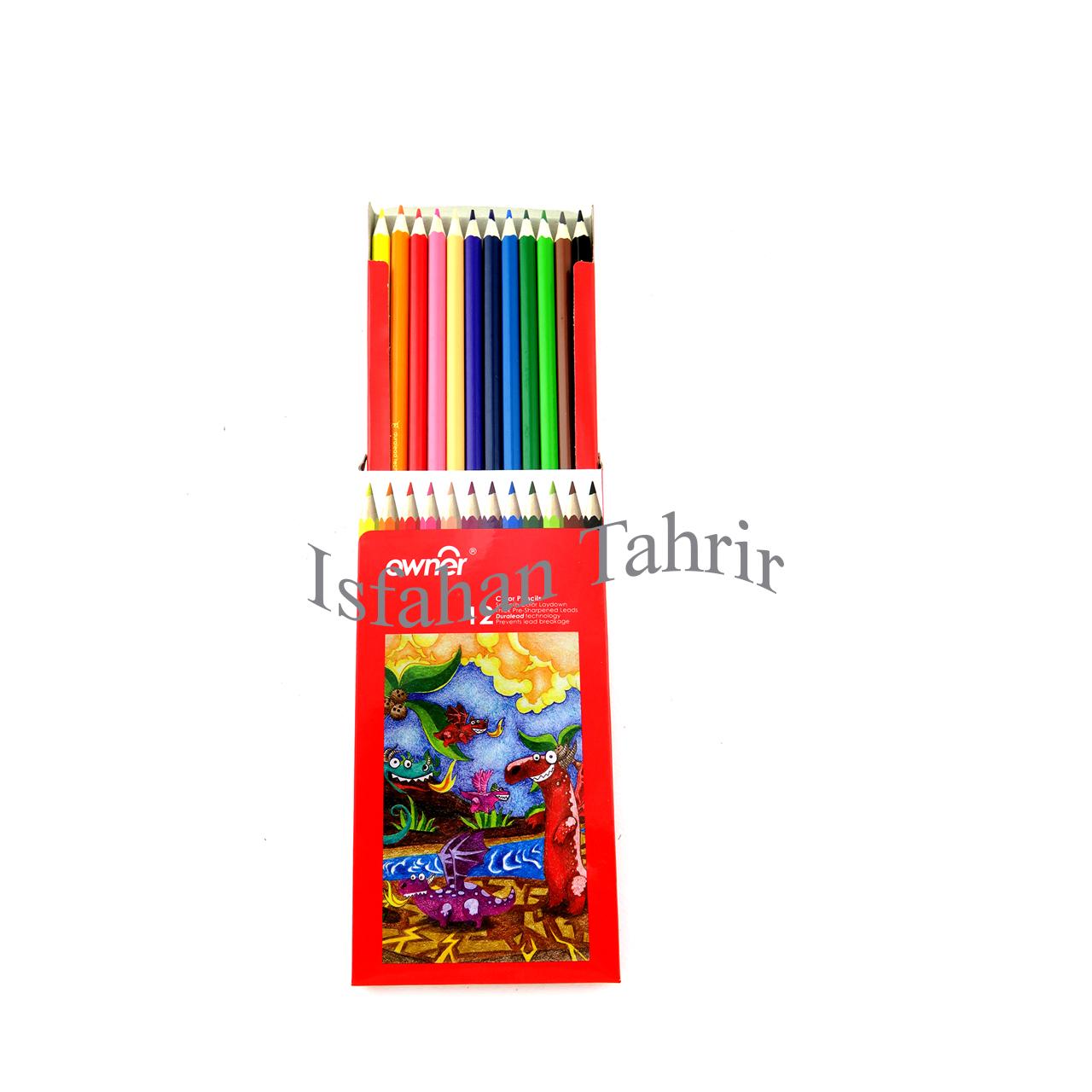 مداد رنگی ۱۲ رنگ مقوایی اونر Owner